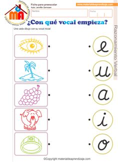 "Hoja de trabajo "" ¿Con qué vocal empieza? "" para trabajar con niños de educación inicial 5 años, razonamiento verbal. Une cada dibujo con su vocal inicial Montessori Activities, Learning Activities, Kids Learning, Spanish Language Learning, Teaching Spanish, Kids Education, Special Education, Tracing Worksheets, Spanish Teacher"