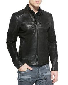 Archer Oiled Suede Jacket, Black by Belstaff at Bergdorf Goodman.