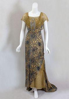 Devoré velvet evening dress trimmed with metallic lace, c.1910