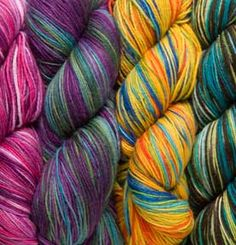 """Stroll Hand Painted Sock Yarn    $9.99 - $10.99 / hank  Compare to other brands  at 17.20 / hank      Content: 75% Superwash Merino Wool, 25% Nylon  Weight: Fingering Weight  Knitting Gauge: 7 - 8 sts = 1"""" on #1 - 3 needles (2.25mm-3.25mm)  Crochet Gauge: 21 – 32 sc = 4'' on B - E hooks (2.25mm-3.5mm)  Amount: 462 yards/100 gram hank  Care: Machine Washable/Tumble Dry Low"""