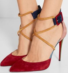 Christian Louboutin Suzanna 100 color-block suede pumps