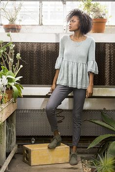 """Tenno is knit in the round from the bottom up.  Lots of stockinette makes this good """"TV knitting.""""  Yarn: Fibra Natura Papyrus."""