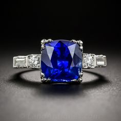 3.50 Carat Sapphire, Platinum and Diamond ring - 30-1-5714 - Lang Antiques