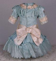 Wonderful Antique Aqua Silk Satin French Bebe Dress for JUMEAU, BRU, or other French Bebe Doll