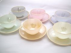 1960s Set of 6 Arcopal Pastel Opalescent Glass Cups and Saucers