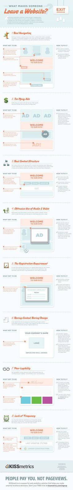 What makes someone leave a website? Some good things to consider for both web designers and UX designers.