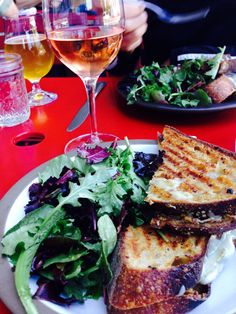 Fabulous lunch at Mission Cheese, San Francisco! California Gold Sandwich: San Joaquin Gold Cheese, chevre, prosciutto, fig preserves with a refreshing glass of Unti Rosé. Www.Missioncheese.net