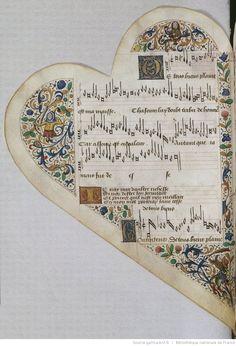 Titre :  Chansonnier cordiforme de Montchenu. RECUEIL de Chansons italiennes et françaises.  Date d'édition :  1470-1480  Rothschild 2973  Folio 25v