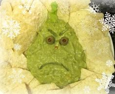 Guacamole Grinch Dip & Tortilla Chips from One Ordinary Day. Fun for Grinch party or movie night. Liu Stehlin this just makes me laugh hahah Christmas Apps, Christmas Party Food, Grinch Christmas, Christmas Appetizers, Christmas Goodies, Christmas Treats, Holiday Treats, Christmas Humor, Holiday Recipes