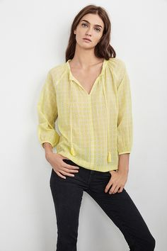 $108.00 HOLLIE PRINTED COTTON PEASANT TOP IN YELLOW