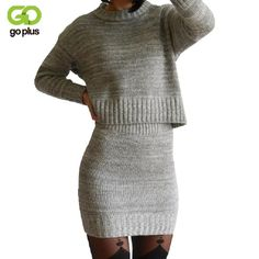 Cheap set women, Buy Quality suit suit directly from China dress set women Suppliers: GOPLUS 2017 Winter 2 Pieces Sweater Dress Set Women Long Sleeve Office Wear Casual Gray Pullover Knitted Dresses Clothing Suit Two Piece Dress, Dress Set, Skirt Set, Mini Skirt, 3 Piece, Formal Suits For Women, Tailor Made Suits, Sweater Weather, Clothes 2019