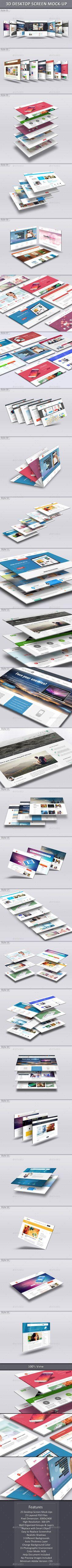 3D Desktop Screen Mock-Ups  -  PSD Template • Download ➝ https://graphicriver.net/item/3d-desktop-screen-mockups/12521745?ref=pxcr