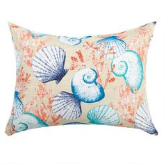 One of my favorite discoveries at ChristmasTreeShops.com: Seashells Indoor/Outdoor Oblong Throw Pillow