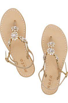Crystal-embellished leather T-bar sandals
