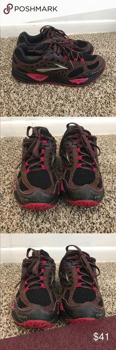 Cascadia Brooks Womens Running Shoes 8.5 sneakers Cascadia Brooks Womens Running Shoes Brown Black Maroon Sz 8.5 Red EUC Sneakers  In great preloved condition as you can see from pics Brooks Shoes Athletic Shoes