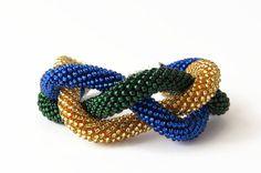 Luxury Statement Triple Blue Green Gold Bracelet  by EdoraJewels