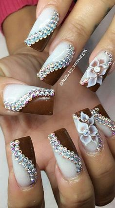 Acrylic nails white brown rhinestones 3d flowers