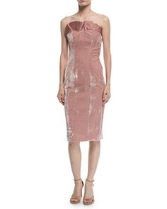 Marceau+Strapless+Velvet+Fitted+Cocktail+Dress+by+cinq+a+sept+at+Neiman+Marcus.