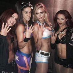 Becky Lynch, Bayley, Charlotte & Sasha Banks