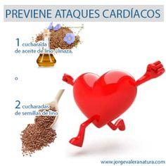 PREVIENE ATAQUES CARDÍACOS Consumir 1 cucharada de aceite de lino / linaza, o 2 cucharadas de semillas de lino en los alimentos.