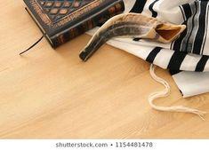 Prayer Shawl - Tallit, Prayer book and Shofar (horn) jewish religious symbols. Rosh hashanah (jewish New Year holiday), Shabbat and Yom kippur concept. Prayer Shawl, Prayer Book, Arte Judaica, Yom Kippur, Religious Symbols, Jewish Gifts, New Year Holidays, Rosh Hashanah, Jewish Art
