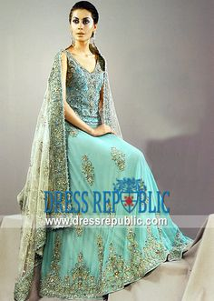 Gold Turquoise Alsace, Product code: DR3108, by www.dressrepublic.com - Keywords: Pakistani Indian Bridal Boutiques Alsace, CA - Wedding Dresses Shops Alsace, CA