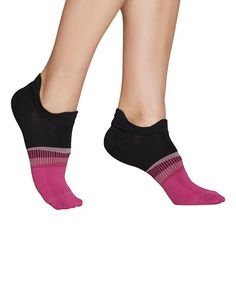 Look at this #zulilyfind! Black & Pink Athletic Tab No-Show Socks #zulilyfinds