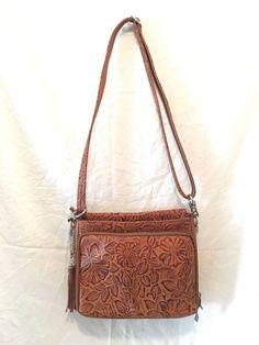 GTM Gun Tote'n Mamas Concealed Carry Tooled American Cowhide Shoulder Bag, Tan,  #GunTotenMamas #ShoulderBag