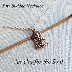 Buddha Necklace  Tiny Buddha Pendant  Meaningful by lizix26, $24.00