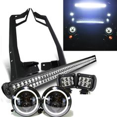 "Jeep JK - Pack 07 - 2017 (52"") Light bar / LED Projector halo headlights / 2 pods and all brackets - Leds4less"