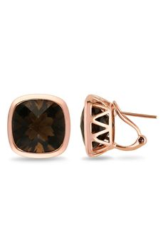 Smokey Quartz Earrings in Pink Plated Silver.