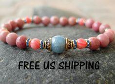 Compassion Rhodochrosite, Aquamarine, Rhodonite, yoga bracelet, energy mala, Meditation bracelet, Reiki Charged,