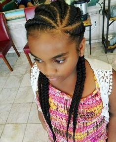 Summer Style Feed in Cornrows by LaKaria! Give your hair a break with these beautiful braids. To get this look call the salon today! # simple feed in Braids # simple feed in Braids Latest Braided Hairstyles, Feed In Braids Hairstyles, My Hairstyle, Kids Cornrow Hairstyles, Cornrows For Girls, Braids For Kids, Girls Braids, Little Girl Braids, Black Girl Braids