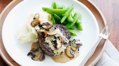 Pepper steaks with mushroom sauce and creamy mash recipe - 9Kitchen