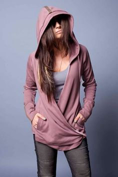 The Wrap Hoodie by Evenagamba in mauve. Peruvian cotton, v-neck, adjustable strings, and chocolate brown detail.