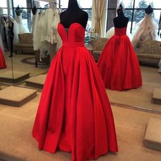 Red chiffon sweetheart A-line simple long prom dresses, evening dresses for graduation
