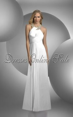 Classic Sheath Floor-length Jewel White Chiffon Dress