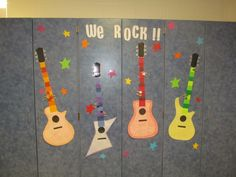 Music Room Incentive - Each class has a pick that moves up the guitar. When they reach the top they earn a fun day!