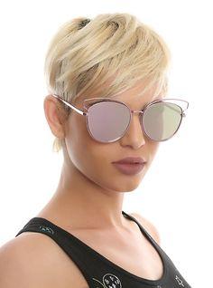 ddab336b02f4a Pink Wire Reflective Cat Eye Sunglasses