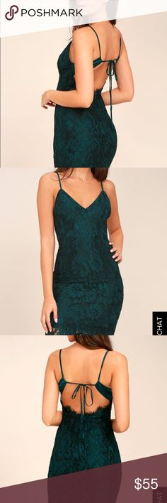 Lulu Lace Dress Only worn once- beautiful deep green lace dress with a sexy open back! Love this bold look for any occasion. Lulu's Dresses Backless