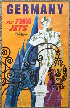Original Travel Poster TWA Germany David Klein Vintage Airline Art Deutschland #Vintage
