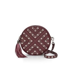 """Rebecca Minkoff Studded Crossbody Purse Rebecca Minkoff Bianca studded Crossbody purse. Circular silhouette. 22"""" adjustable strap to use as a Crossbody or shoulder bag. Remove the strap and carry as a clutch. Genuine leather. Custom light gold hardware. One interior slip pocket. Price firm. Port color. Rebecca Minkoff Bags Crossbody Bags"""