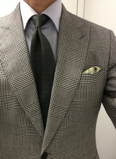 Light grey glen plaid jacket, white shirt, olive tie