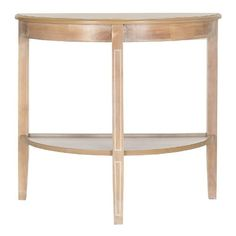 A beautiful demilune table, the Dora console makes an artful addition to a living room or hall when decked out with lamps and accessories. Fashioned of honey natural fir wood, this transitional console features pretty carved legs and useful shelf. Demilune Table, Wooden Console Table, Console Tables, Accent Furniture, Table Furniture, Home Furniture, Half Circle Table, Light Table, Home Collections
