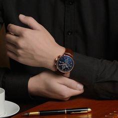 New Fashion Luminous Leather Strap Multifunction Watches Men Quartz Watch Waterproof Wristwatches Male Table Relojes