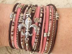 Boho Wrap Bracelet- Pink Brown and Silver Triple Wrap Infinity Multilayer Leather Cuff with Silver Fleur De Lis Charm and Tibetan Beads by DesignsbyNoa