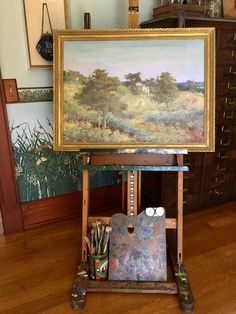 Emma Eilers' painting on a vintage easel in her former studio in Sea Cliff, NY. Photo by Leslie Guerci Sea Cliff, Easels, Impressionist, Studio, American, Frame, Artist, Painting, Vintage