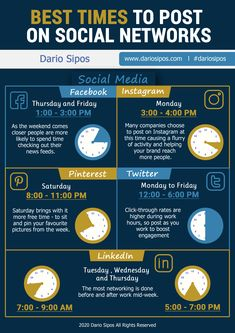 "Best Times to Post on Social Networks displays the best tested practices for choosing posting times across five social networks. Applicable to any field, and originally used in a book ""Retail Digital Marketing"" by Dario Sipos. Best Time To Post, Post Time, Instagram Plan, Facebook Instagram, Social Media Content, Social Networks, Digital Marketing Strategy, Personal Branding, Infographic"