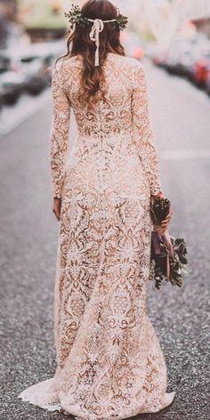 vintage backless lace ivory boho wedding dresses with sleeves estela garro atelier Rustic Wedding Dresses, Wedding Dresses Plus Size, Boho Wedding Dress, Trendy Wedding, Dream Wedding, Wedding Ideas, Wedding Things, Fall Wedding, Wedding Stuff