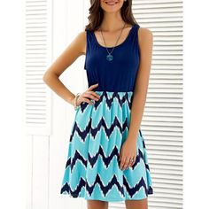 Sleeveless Wave Print Mini Dress